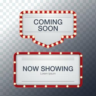 영화관, 바 쇼 또는 레스토랑에 대 한 3d 현실적인 배경 복고풍 라이트 박스 광고 판