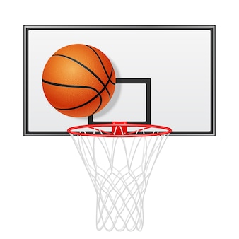 3d realistic basketball backboard and ball. isolated on white.