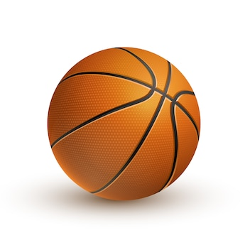 3d realistic basketball isolated on white background.