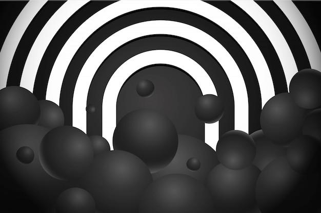 3d реалистичные черные шары с кривыми