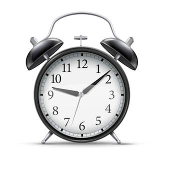 3d  realistic black  home alarm clock for concept design. vintage style illustration.