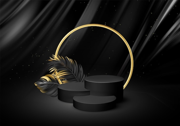 3d realistic black pedestal  with golden elements palm leaves.
