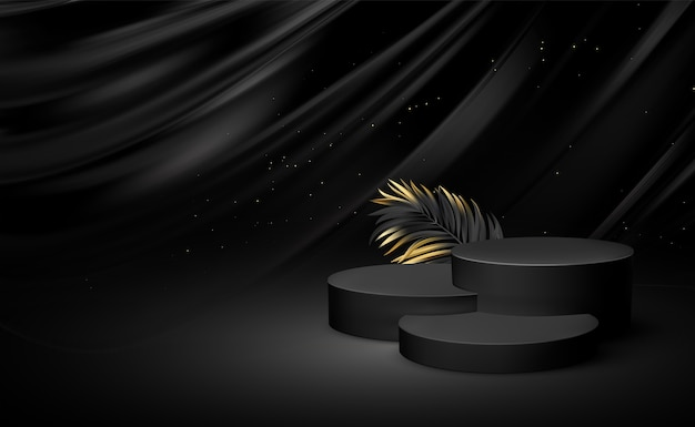 3d realistic black pedestal  with golden elements palm leaves