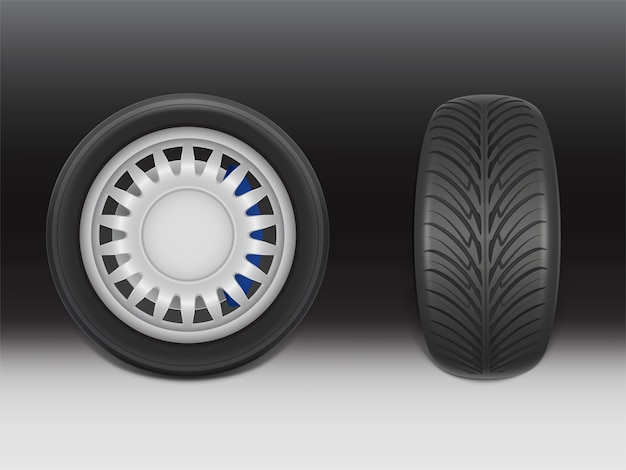 3d realistic black tire with brake caliper in side and front view, shining steel and rubber