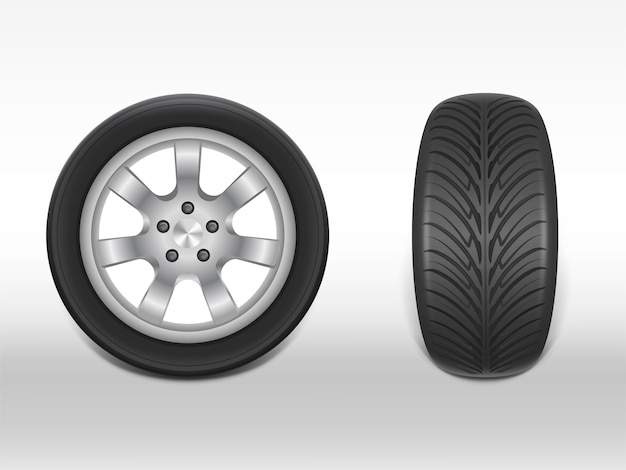 3d realistic black tyre in side and front view, shining steel and rubber wheel for car