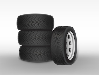 3d realistic black tyre stacked in pile, shining steel and rubber wheel for car, automobile