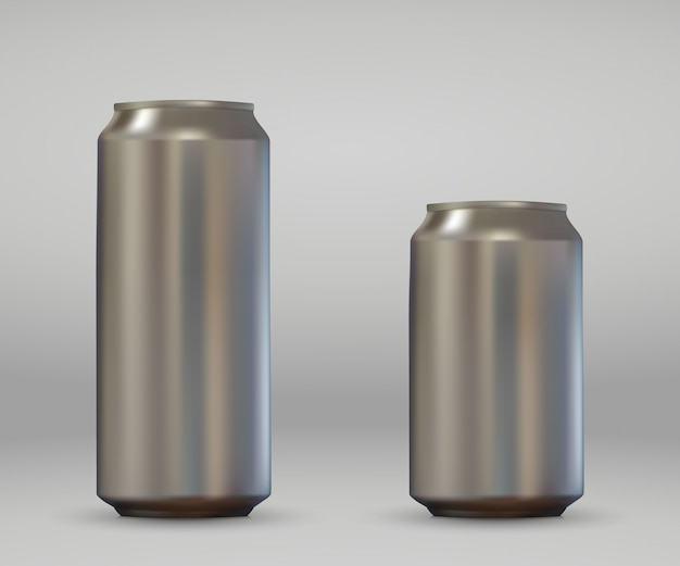 3d realistic blank aluminium can. metallic beer or soda pack mockup .