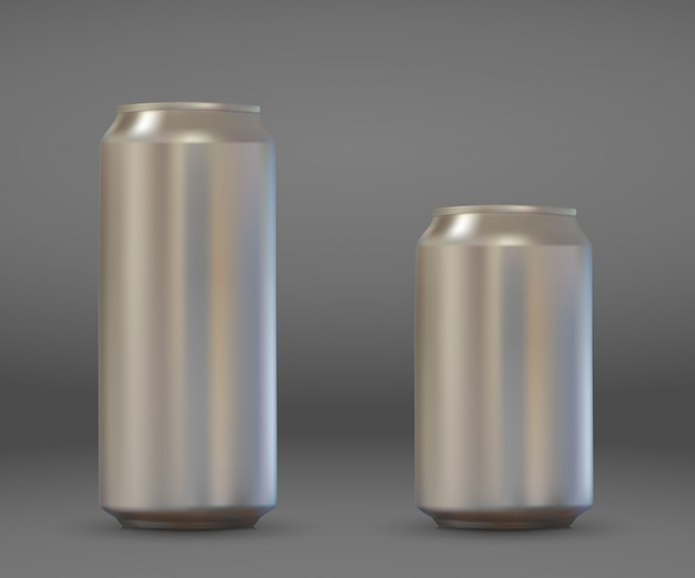 3d realistic blank aluminium can. metallic beer or soda pack mockup .