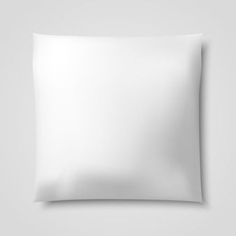 3D Realistic blank white square pillow