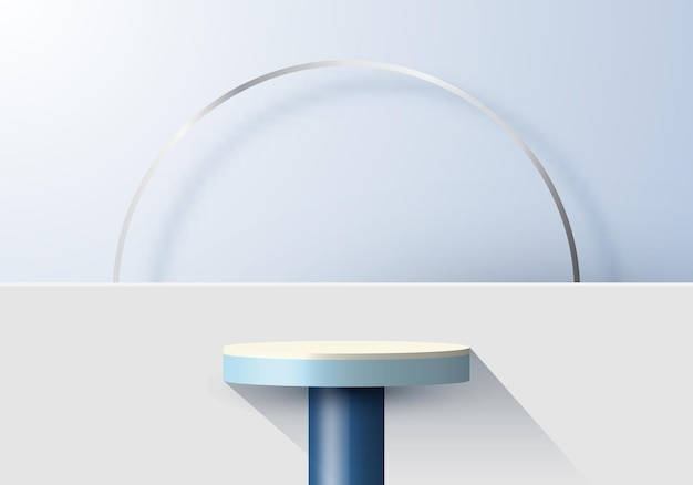 3d realistic blue podium and ring with backdrop minimal scene display background. design for product presentation, mockup, etc. vector illustration Premium Vector