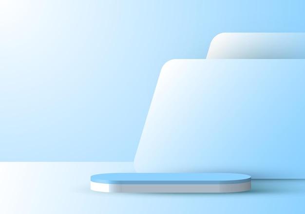 背景の最小限のシーン表示の背景を持つ3dリアルな青い表彰台。製品のプレゼンテーション、モックアップなどのデザイン。ベクトルイラスト
