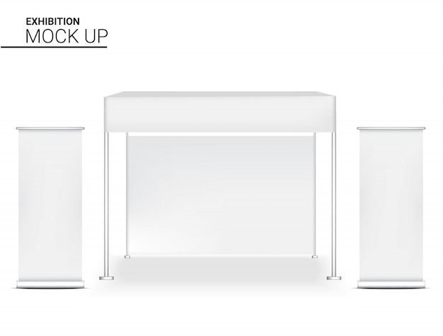 3d realistic booth display pop для магазина продажи маркетинга продвижение выставки с roll up баннер шаблон фона иллюстрации