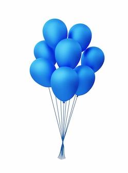 3dリアルな束と青いヘリウム風船のグループベクトルイラスト。