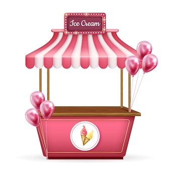 3d realistic cart, food kiosk stand. pink shop with ice cream and balloons