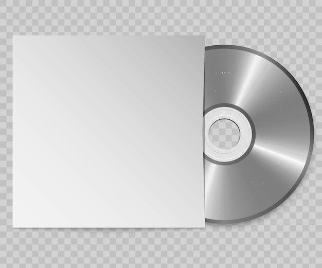 3d реалистичный компакт-диск с крышкой. шаблон оформления.
