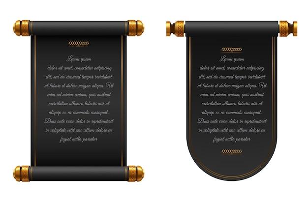 3d realistic chinese scrolls illustration Premium Vector