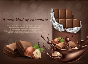 3d realistic chocolate with hazelnut ad poster, banner with liquid splashing drops.