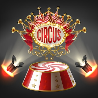 3d realistic circus stage in bright rays of spotlights. label with bulbs frame
