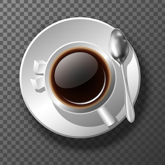 3d realistic coffee cup from top view. good morning motivational banner. on transparent background.