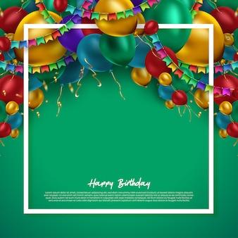 Реалистический красочный пук 3d воздушных шаров дня рождения летая для партии и торжеств с космосом для сообщения изолированного в белой предпосылке. иллюстрация