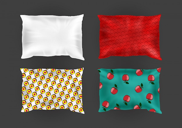 3d realistic comfortable square pillows in bright pillowcases, different patterns on silk