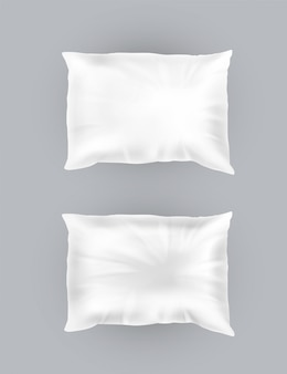 3d realistic comfortable square pillows. template, mock up of white fluffy crumpled cushion f