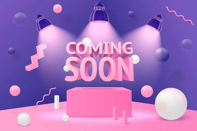 3d realistic corner wall abstract scene, coming soon spotlights on podium and pink, white and violet balls and objects.
