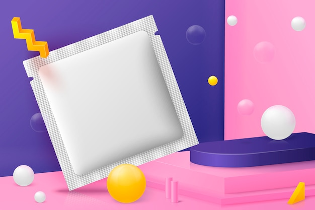 3d realistic corner wall abstract scene  sachet, podium and pink, white and violet balls and objects.