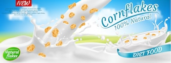 3d realistic cornflakes in milk, package design. Diet healthy food, nutrition in white bowl