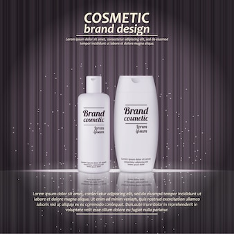 3d realistic cosmetic bottle ads template