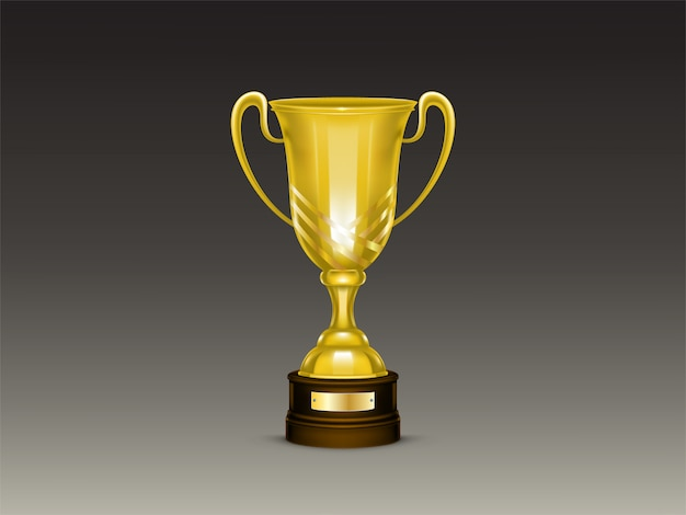 3d realistic cup, golden trophy for winner of competition, championship.