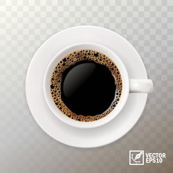 ブラックコーヒーの3 dリアルなカップ、トップビュー