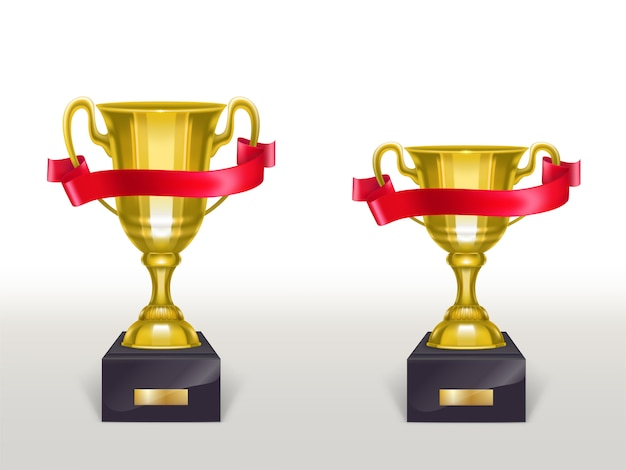 3d realistic cup on pedestal with red ribbon, golden trophy on stand with stripe