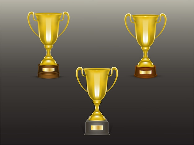 3d realistic cup set, golden trophies for winner of competition, championship.