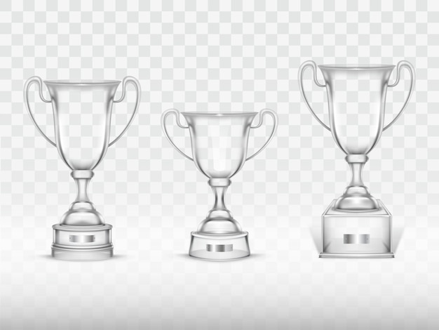 3d realistic cup, transparent glass trophy for winner of competition, championship.