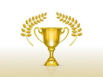 オリーブブランチ、競争優勝者のためのゴールデントロフィーと3d現実的なカップ
