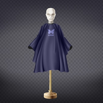 3d realistic dark blue hairdresser apron on white mannequin isolated on transparent background