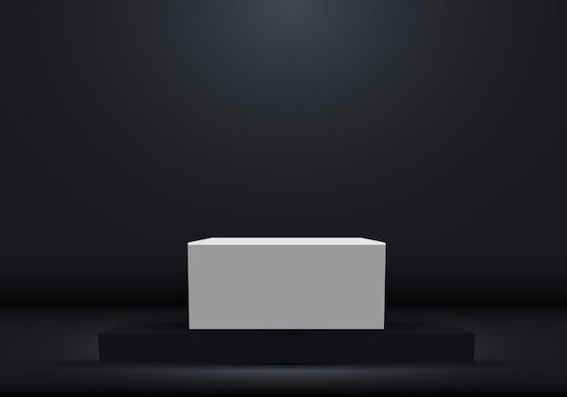 흰색 빈 받침대와 3d 현실적인 어두운 플랫폼.
