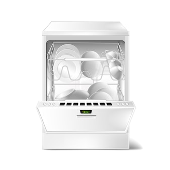 3d realistic dishwasher with open, closed door. digital display on dishwashing machine
