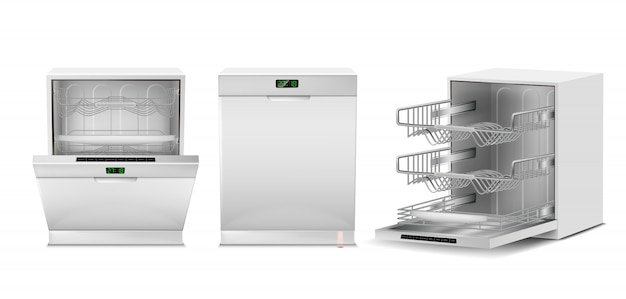 3d realistic dishwasher with open, closed door, digital display