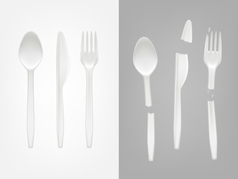 3d realistic disposable plastic cutlery - spoon, fork, knife and broken tools