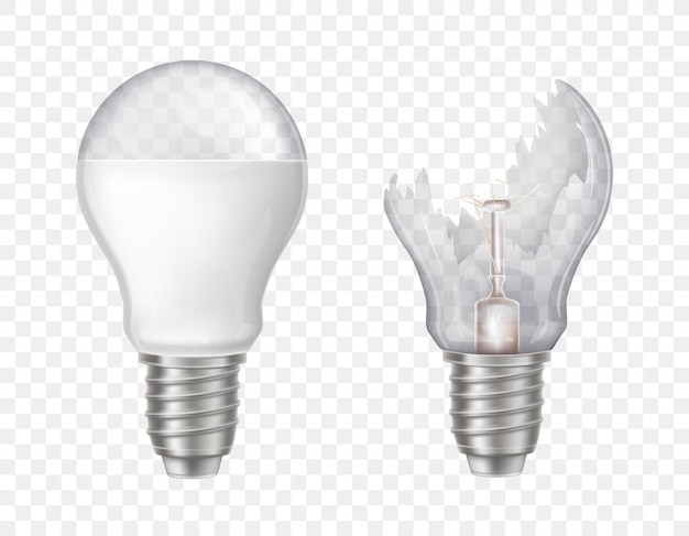 3d realistic electric light bulbs. broken glass