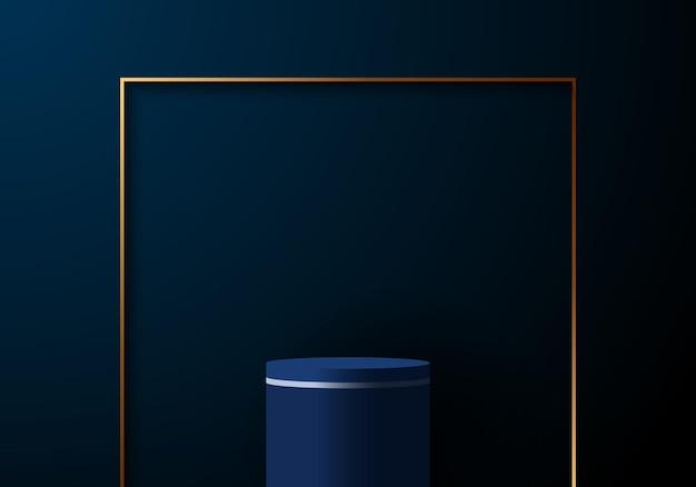 濃紺の背景に金の正方形のフレームと3dリアルでエレガントな青いシリンダー。製品の展示ショーケースやプレゼンテーションの場所に使用できます。ベクトルイラスト