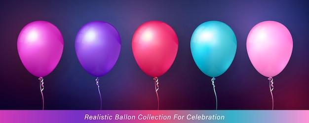 お祝いのデザインのための3dリアルでエレガントな鮮やかな鮮やかな色のバルーンコレクション
