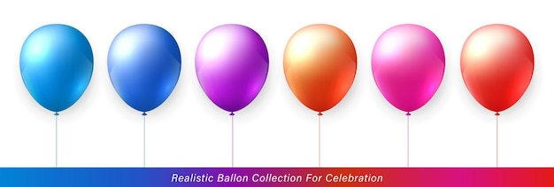 お祝いのデザインのための3dリアルでエレガントで活気に満ちた鮮やかなカラフルなバルーンコレクション