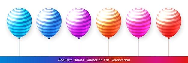お祝いのデザインのための3dリアルでエレガントな活気に満ちた鮮やかな縞模様のカラフルなバルーンコレクション