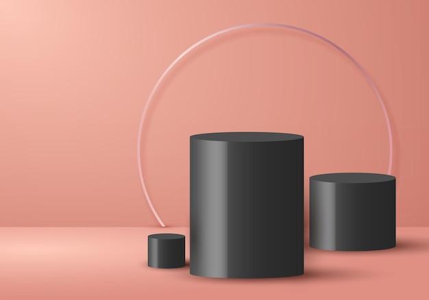 3dリアルな空の最小限の黒い円柱の形