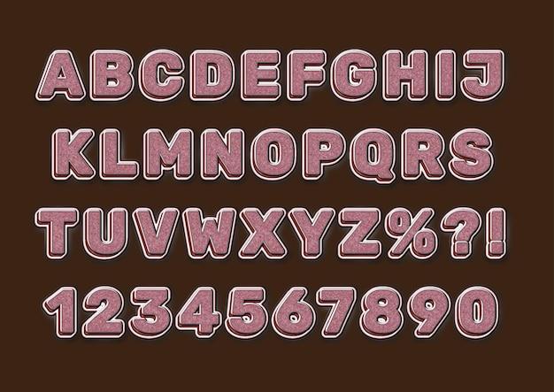 3dリアルな消しゴムスタイルのアルファベット番号セット