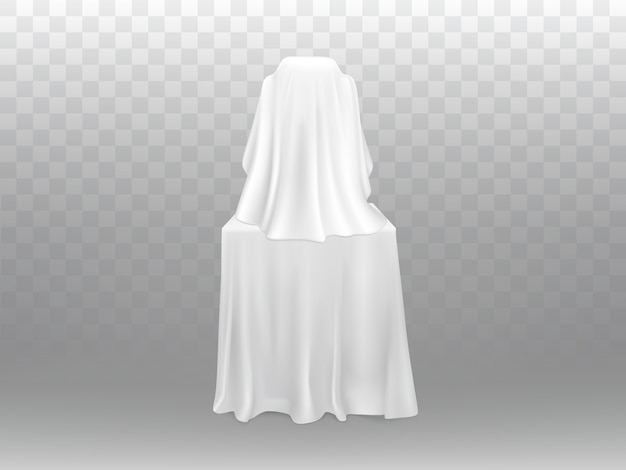 3d realistic exhibition concept - exposition under white clothing isolated on transparent bac
