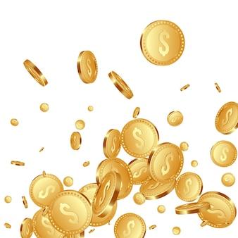 3d 현실적인 떨어지는 황금 금속 동전, 달러 기호.
